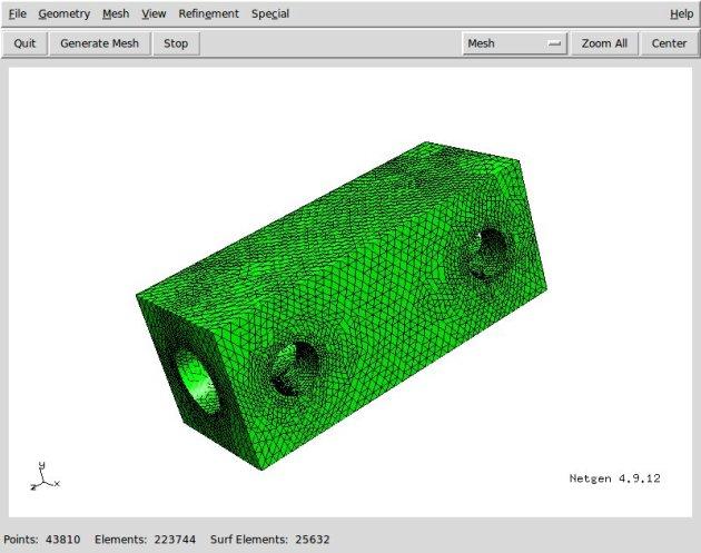 Mesh del modello 3D realizzata con NetGen