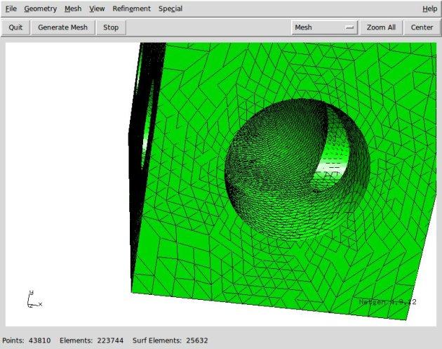 Dettaglio della mesh realizzata con NetGen